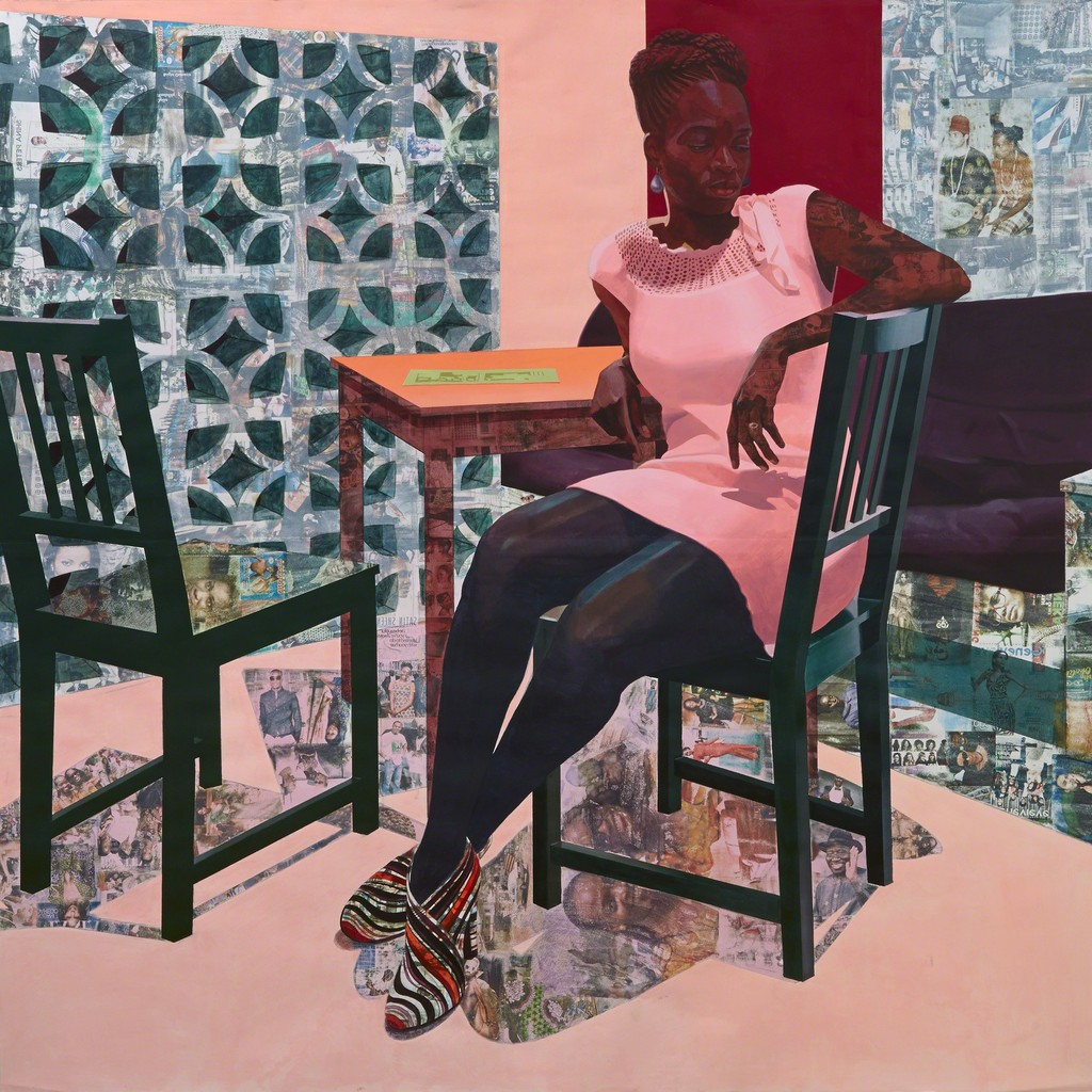 Njideka Akunyili Crosby, Predecessors (left panel),2013, charcoal, acrylic paint, graphite and transfer print on paper, 84 x 84 inches, courtesy Tate London