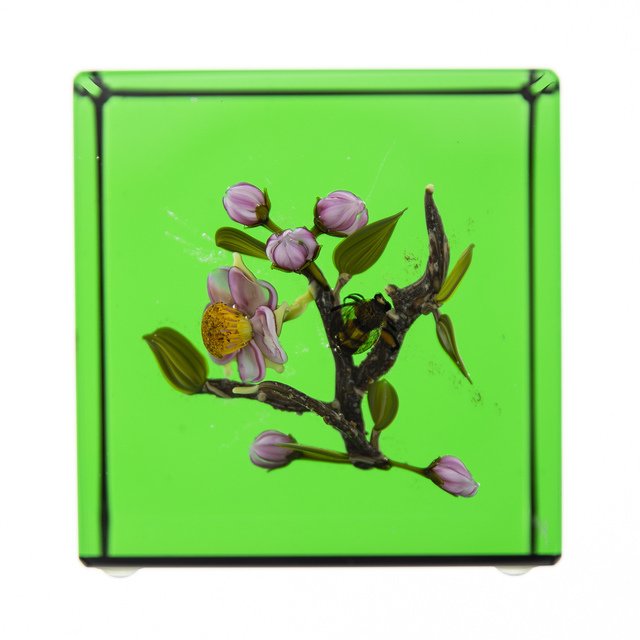 Paul Stankard, 'Glass Paperweight Fine Art Green Apple Blossom w/honey Bee. Signed', 1994, Modern Artifact