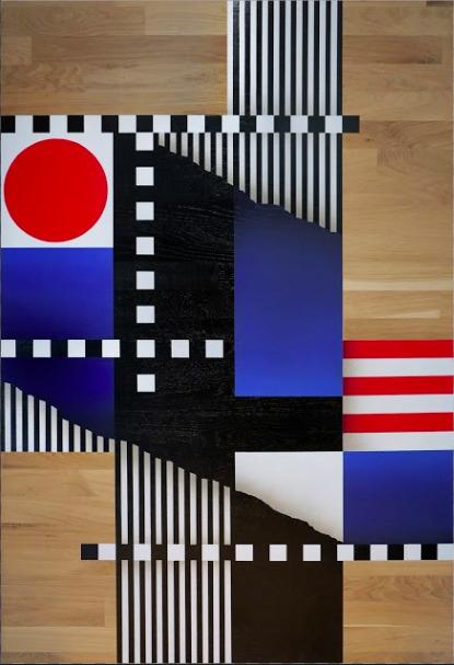 , 'Composition géométrique drapeaux et lignes #1,' 2017, Ground Effect Gallery
