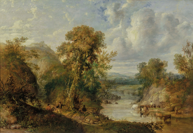 Animated River Landscape with Figures and Cattle