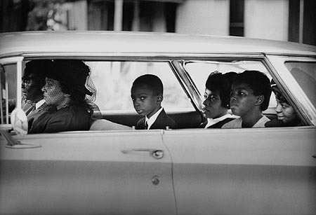 , 'The Chaney family as they depart for the burial of James Chaney, Meridian, Mississippi, August 7, 1964 ,' , Monroe Gallery of Photography