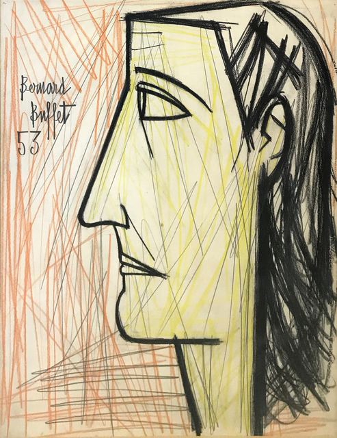 Bernard Buffet, 'PROFIL DE FEMME', 1953, Drawing, Collage or other Work on Paper, PENCIL AND CRAYON ON PAPER, Gallery Art