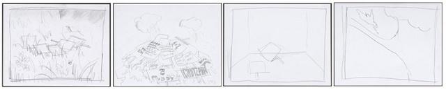 Dan Colen, 'Group II Pollinating (11), Rain Clouds (parades) (9), Beginning (29), Last Nights Dinner (a Change of Season) (2)', 2008, Gagosian