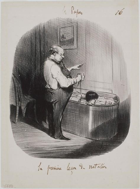Honoré Daumier, 'Les Papas: La première leçon de natation', 1847, Phillips Collection