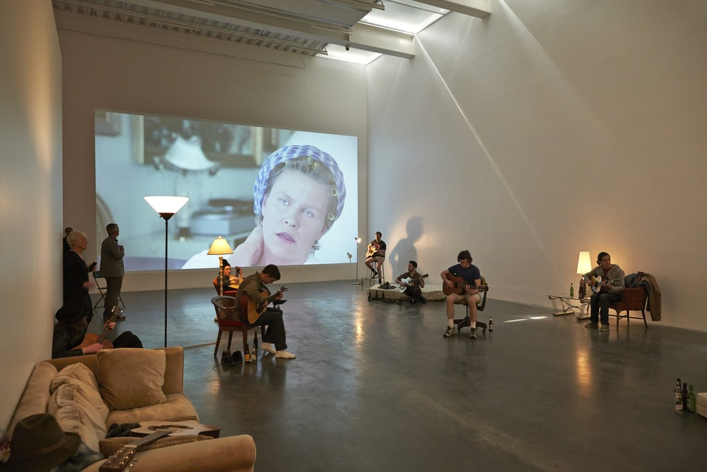 "Installation view, ""Ragnar Kjartansson: Me, My Mother, My Father, and I,"" New Museum, 2014"