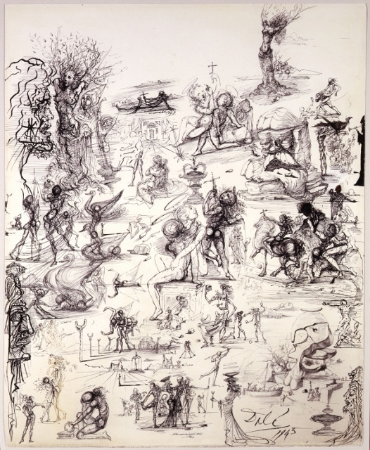 Salvador Dalí, 'PROJETS DE RIDEAAUX DE SCÈNE ET ÈTUDES PRÈ LIMINAIRES (Projects for theater curtains and preliminary studies)', 1943, Drawing, Collage or other Work on Paper, Pen and Ink on Paper, Shoichiro/Projekcts by Projects
