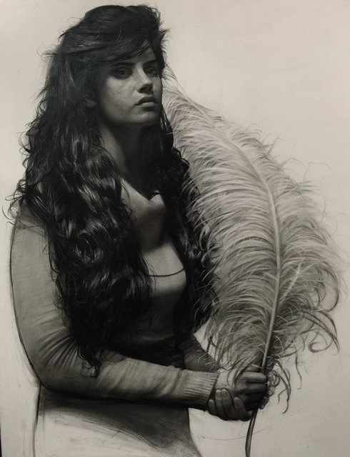 , 'Girl With Feather,' 1996, Seraphin Gallery