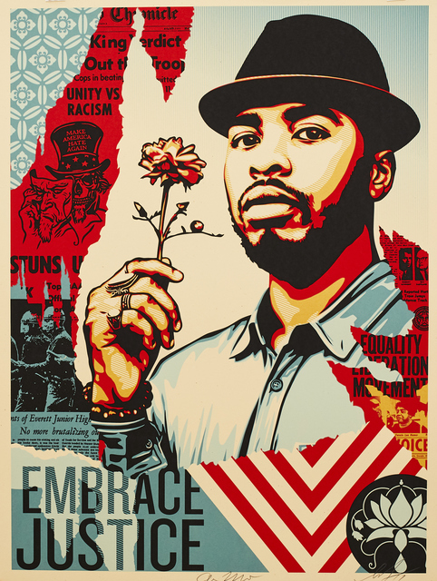 Shepard Fairey (OBEY), 'Embrace Justice', 2018, Sping/Break Benefit Auction