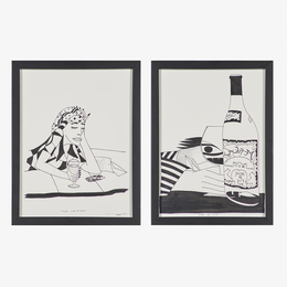 """Two drawings on the subject of wine, """"The Letter"""" and """"Vue du Vin,"""" Nancy, France (framed)"""