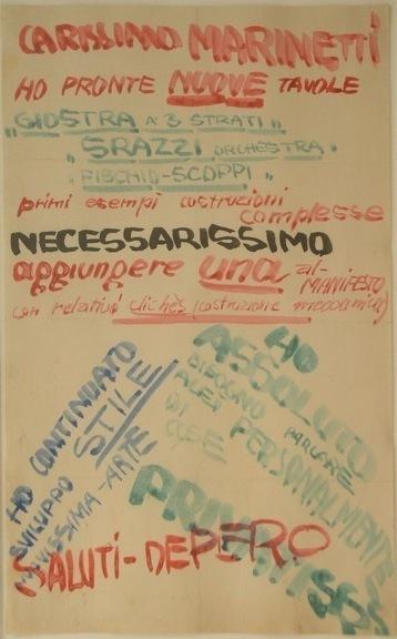 , 'Carissimo Marinetti. Saluti Depero,' 1915, Adler & Conkright Fine Art