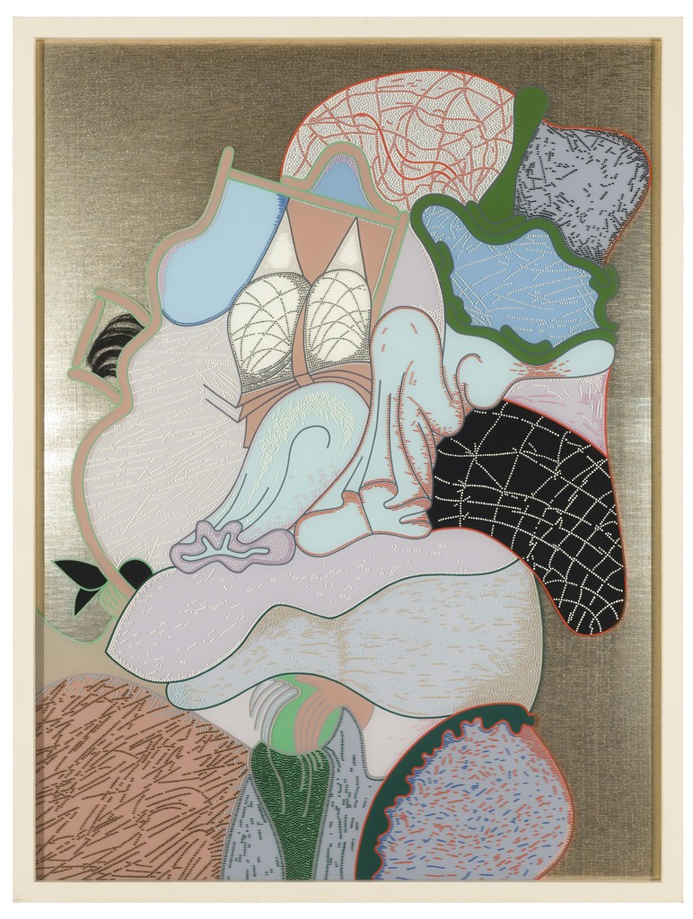 """Barbara Rossi, """"3-D Do,""""1973, fabric, acrylic on plexiglass, and hair, 39 3/16 × 29 1/4 inches, Museum of Contemporary Art Chicago, gift of Albert J. Bildner, 1974.8"""