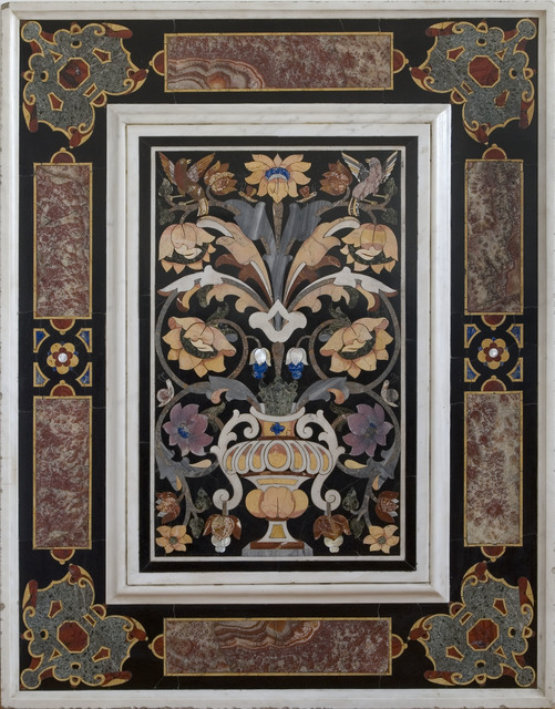 , 'A pair of pietra dura panels, depicting a flower bouquet in a vase,' ca. 1650, Luis Alegria