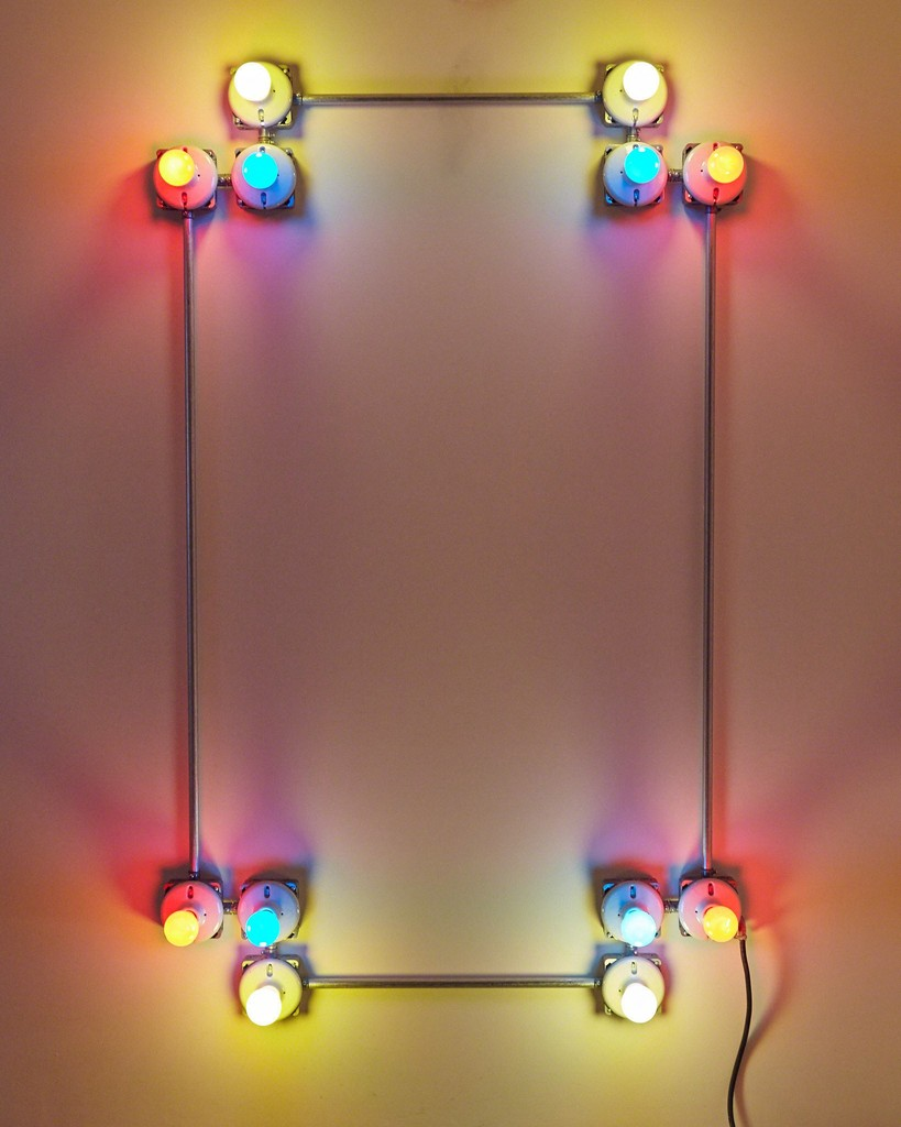 Conduits in red, yellow and blue (figure 24), 2013. galvanized steel, porcelain fixtures and ceramic coated light bulbs. © Brian Lynch.