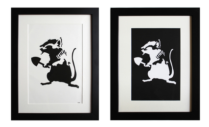 Rat Stencil (extra framed reverse stencil included)