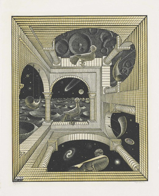 Maurits Cornelis Escher, 'Other World', 1947, Print, Woodcut and wood engraving in colours on thin Japan paper, Christie's