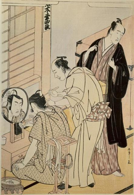 , 'The actor Matsumoto Koshino applying make-up in her dressing room,' 1789, Musée national des arts asiatiques - Guimet