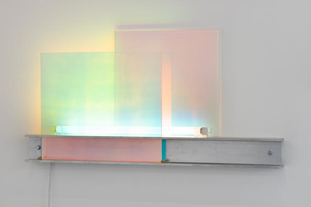 Nathaniel Rackowe, 'DG01', 2015, Sculpture, Dichroic Glass, Aluminium Universal Beam, Fluorescent Light, Fittings and Power Supply, Lawrie Shabibi
