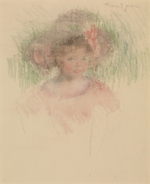 Mary Cassatt, 'Bust Length Sketch of Margot in a Big Hat and a Red Dress', ca. 1903, Adelson Galleries