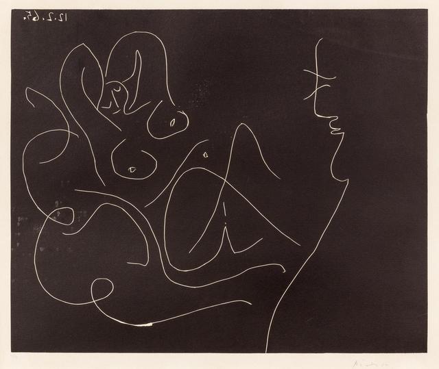 Pablo Picasso, 'Peintre et Modele au Fauteuil a Bascule', 1965, Print, Linocut, Hindman