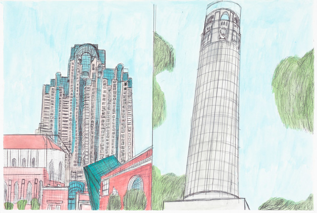 , 'Marriot Marquis and Coit Tower,' 2013, Creativity Explored