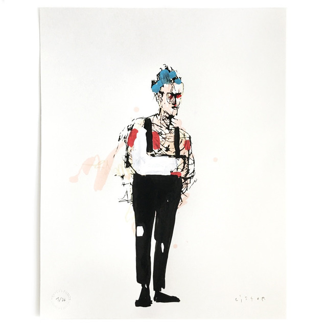 Anthony Lister, 'Broke Arm Punk', 2016, Mixed Media, 4 colour screen print with blue, red and white elements painted by hand on Munken Pure paper; each print edition is unique, Reem Gallery