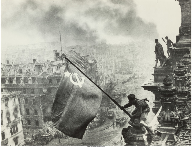 Yevgeny Khaldei, 'Raising the Hammer and Sickle over the Reichstag', 1945, Heritage Auctions