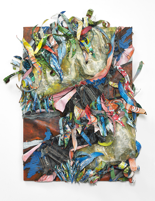 Christina Massey, 'Crafty Collaboration 3', 2019, Painting, Acrylic and enamel paint on canvas, paper, repurposed aluminum with denim and yarn, The Untitled Space