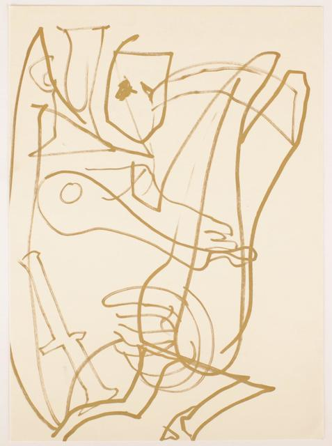 Joan Jonas, 'Feathers', 1992, Drawing, Collage or other Work on Paper, Gold Felt Pen on paper, Galerie aKonzept