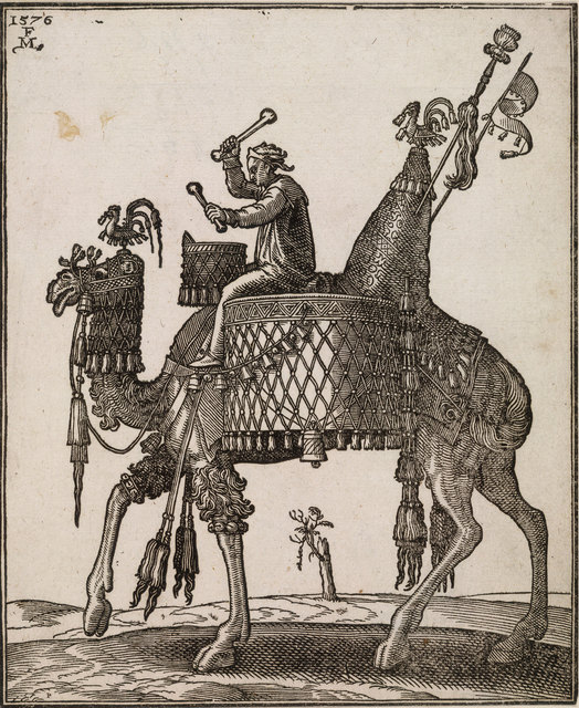 , 'A kettledrum player riding a camel In profile to left; the camel with ornate saddle and bridle from which bells are dangling,' ca. 1576, Centre for Fine Arts (BOZAR)