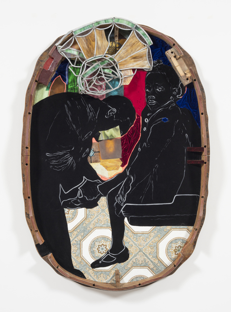 David Shrobe, 'Sanctuary', 2020, Painting, Oil on vinyl tiles, acrylic on flocking, leaded stained glass, wood, leather, velvet and bookbinding cloth mounted on wood table top, Steve Turner
