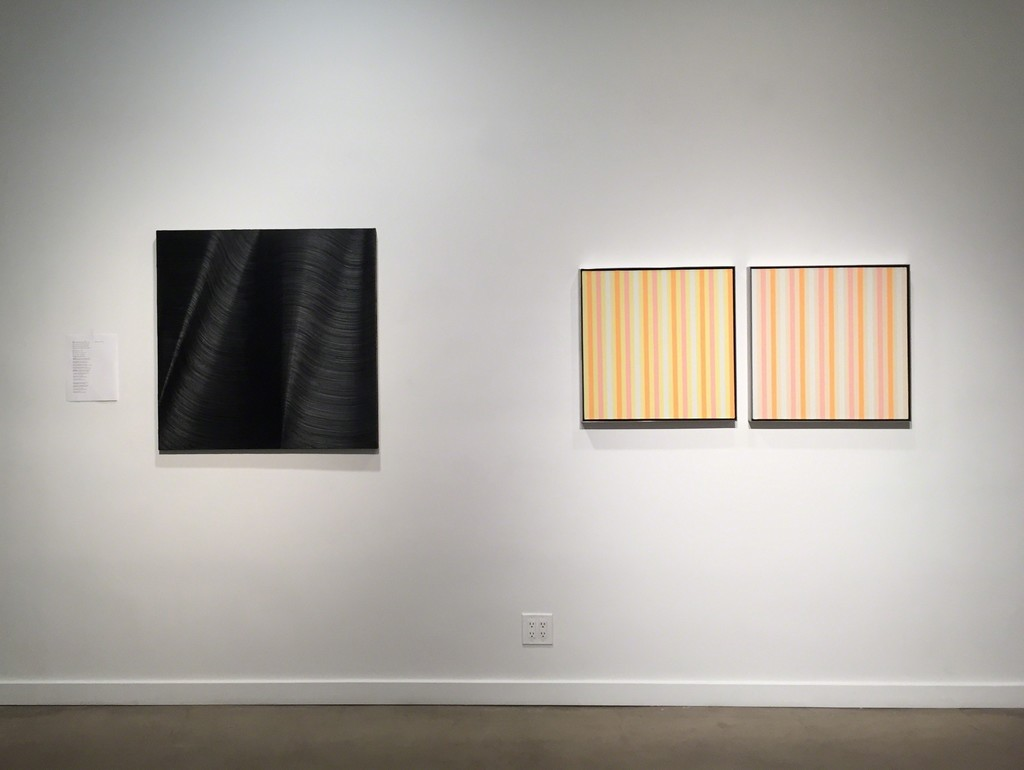 "James Austin Murray ""Continent Class"" Oil on canvas (left) and James Little ""P26714-13"" and ""P26714-14"" Oil and wax on linen (right)"
