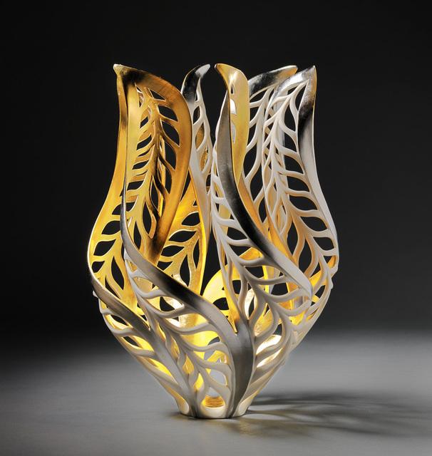 Jennifer McCurdy, 'Gilded Butterfly Magritte's Vessel', 2021, Sculpture, Porcelain, 24ct gold, palladium leaf, Steidel Contemporary
