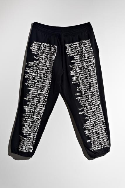 , 'Vietnam Veterans Memorial Sweatpants,' 2010, Alter Space