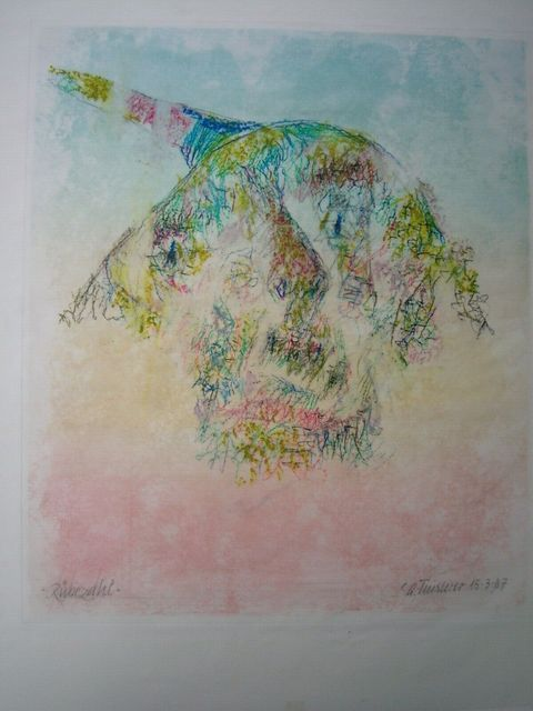 Alfred Finsterer, 'Rübezahl', 1987, Drawing, Collage or other Work on Paper, Oil pastel drawing over color etching, Sylvan Cole Gallery