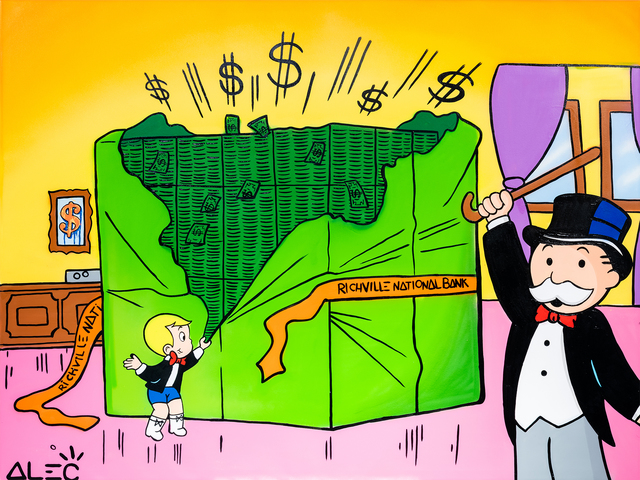 Alec Monopoly, 'Richie + Monopoly Opening $ Packages ', 2021, Painting, Mixed media painting, Eden Fine Art