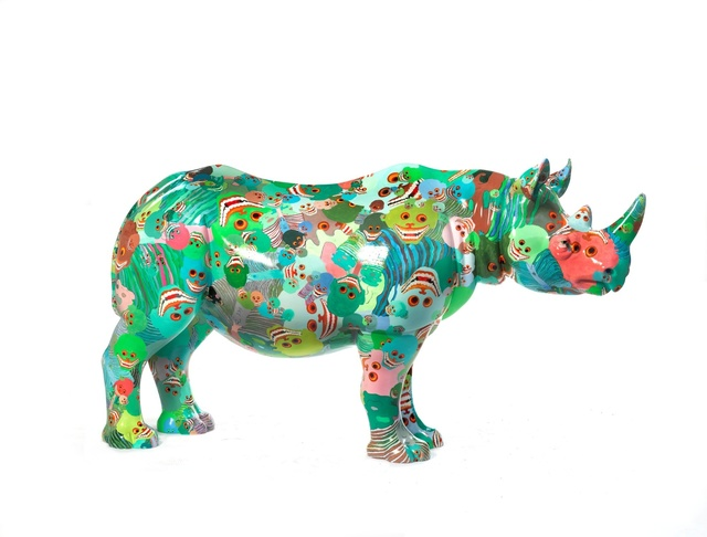 Zhang Huan, 'The Poppy Rhino', 2018, Sculpture, Rhino: fibreglass rhino (fire retardant) with internal armature Finish: Acrylic and varnishes, Tusk Benefit Auction