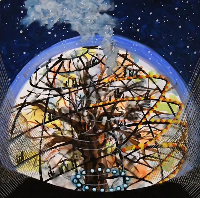 Michiko Itatani, ' Tree House Encounter from Cosmic Theater 16-K-15 ', 2016, Anita Shapolsky Gallery