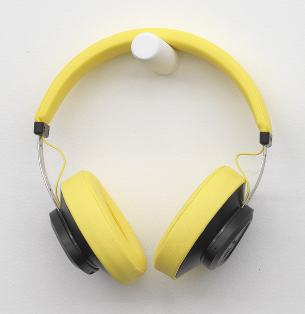 , 'Slippery Toes Yellow Held Head with broomstick knobs and Lucretia's phone audio piece ,' 2018, Wil Aballe Art Projects | WAAP