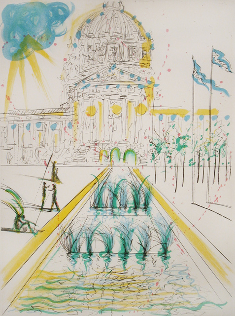 Salvador Dalí, 'City Hall', 1970, Print, Drypoint with lithographed color, DTR Modern Galleries