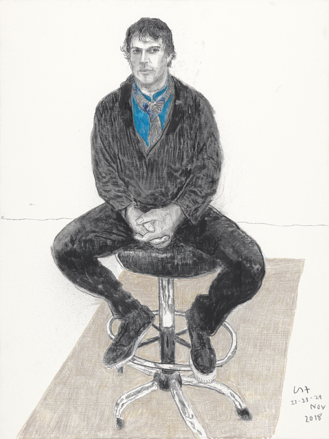 David Hockney, 'Jonathan Wilkinson', 2018, Painting, Charcoal and crayon on canvas, Annely Juda Fine Art