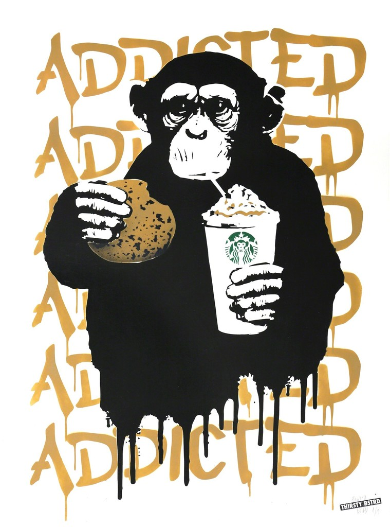 """Fast Food Monkey - Starbucks Beige"" by THIRSTY BSTRD, Silkscreen and mixed media (stencil and spray paint) on paper, signed by the artist, Unique #1/1, 2016"