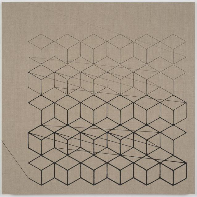 , 'One-Stroke Representation of an Isometric Grid (Black),' 2015, Tanya Bonakdar Gallery