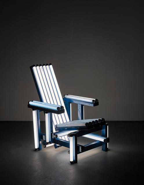 Iván Navarro, 'Blue Electric Chair', 2004, Sculpture, Blue fluorescent light bulbs, painted aluminium and electrical fixtures, Phillips