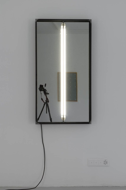 , '700 - 1300 (réclamer) with mirror, flourescent tubes,' 2016, Galerie Clemens Gunzer
