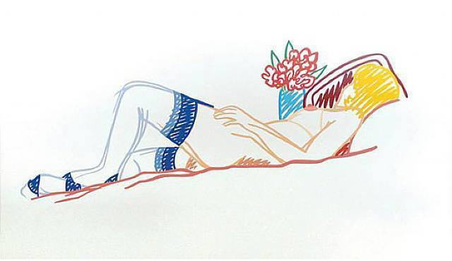 Tom Wesselmann, 'Nude with bouquet and stockings', 1991, Puccio Fine Art