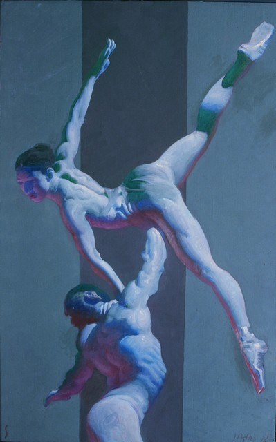 John Asaro, 'One Arm Lift in Grey', 2020, Painting, Oil on Linen, Ethos Contemporary Art