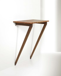 a hanging console table with a wooden structure and marble top