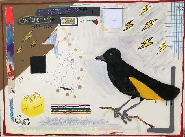 Sebastian Florido, 'Anecdotas', 2018, Mixed Media, Spray paint, acrylic, marker, ecuadorian bill and fabric on canvas., Proyecto NASAL