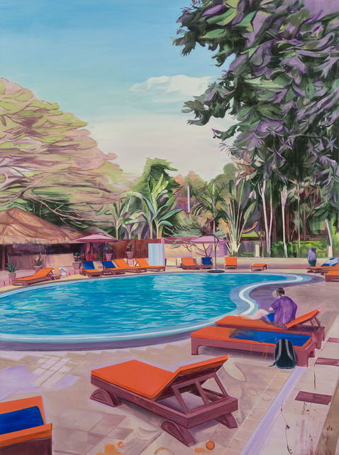 Lei Qi, 'An afternoon at a swimming pool in Bagan', 2018, Painting, Oil on canvas, Matthew Liu Fine Arts