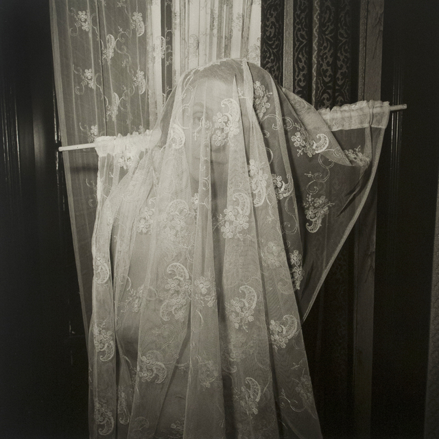, 'Self-portrait with Curtain, Rotterdam, Netherlands,' 1987, Bruce Silverstein Gallery
